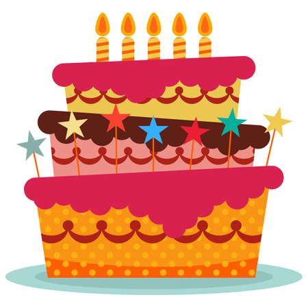 5 燃焼キャンドルと甘い誕生日ケーキ。カラフルな休日のデザート。お祝いのベクトルの背景。