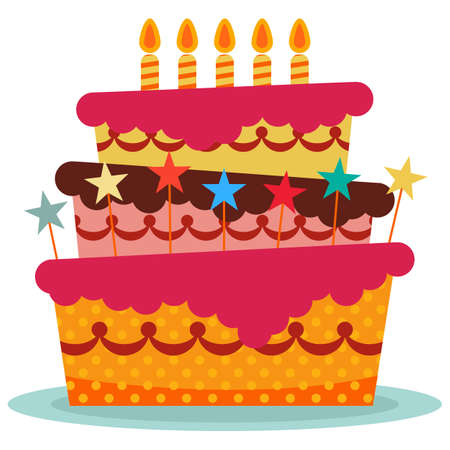 Sweet birthday cake with five burning candles. Colorful holiday dessert. Vector celebration background. Illustration