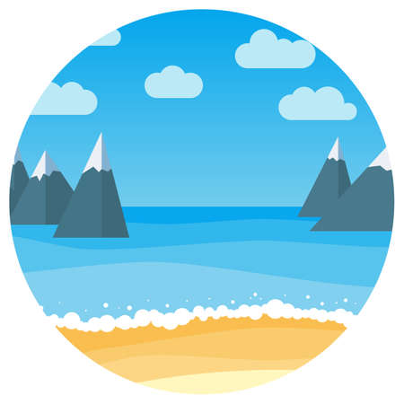 Vector landscape with summer beach and rocks in circle. Waves of the sandy beach, blue sky and sea. Landscape vector illustration.