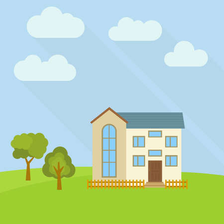 Two storey house in a field with two green trees Illustration