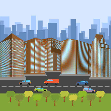 City street with a roadway and skyscrapers, vector illustration.