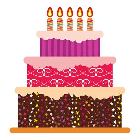 5 燃焼キャンドルと甘い誕生日ケーキ。カラフルな休日のデザート。