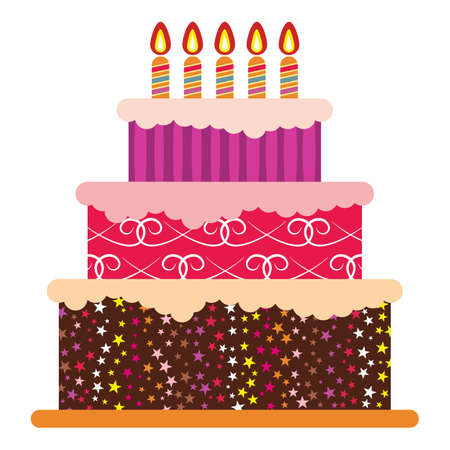 Sweet birthday cake with five burning candles. Colorful holiday dessert.