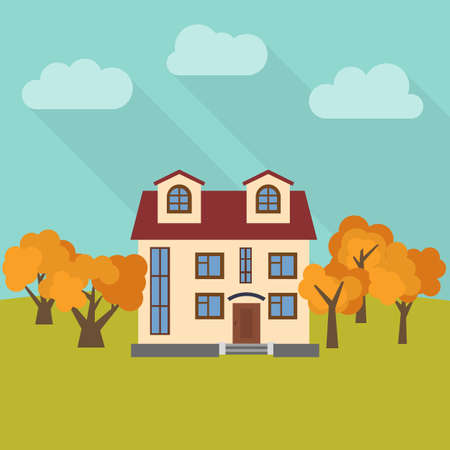 Lone two-storey house in a field with five yellow trees. Vector illustration. Illustration