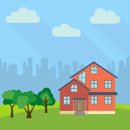 Lone three-storey house in a field with an green trees. Illustration