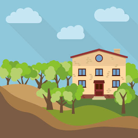 Illustration of a lonely two-storey house surrounded by green trees. Illustration