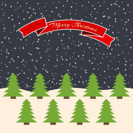 Night forest with stellar sky and a red ribbon with the inscription Happy Christmas. Vector illustration.
