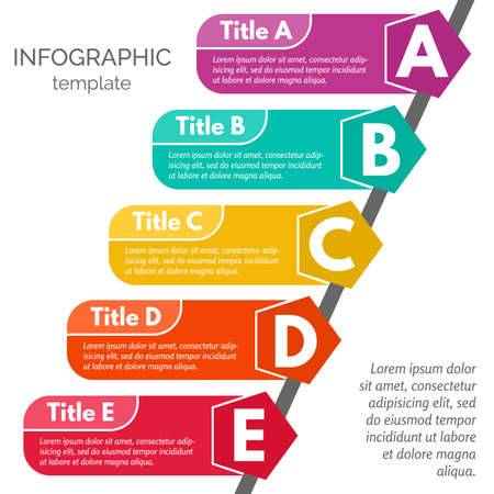 Five steps infographic design elements. Step by step infographic design template. Vector illustration