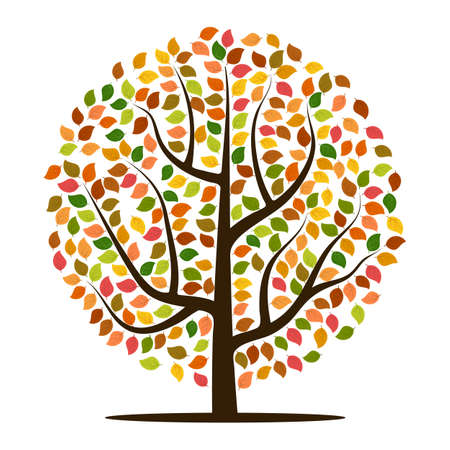 Autumn tree with yellow, orange, brown and green leaves. Vector illustration