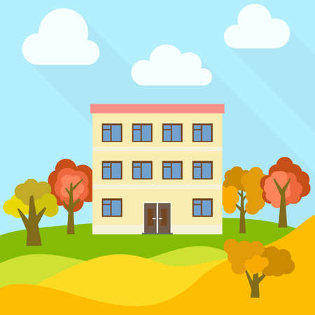 Lone three-storey house in a field with an yellow trees. Vector illustration.