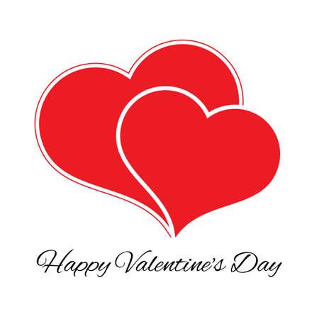 Big and small red heart. Romantic love symbol of valentine day. Vector illustration Vettoriali