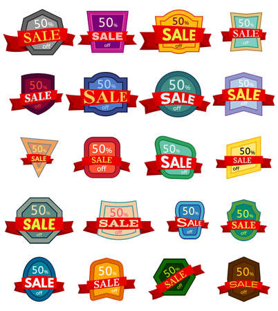 Set of twenty discount stickers. Colorful badges with red ribbon for sale. Vector illustration. Illustration
