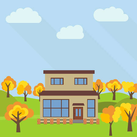 Lone two-storey house in a field with an yellow tree vector illustration. Illustration