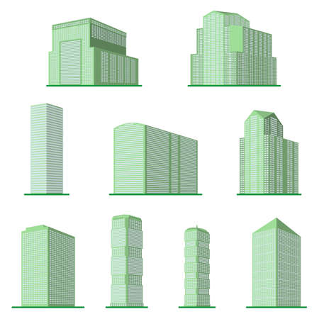 Set of nine modern high-rise building on a white background. View of the building from the bottom. Isometric vector illustration. 向量圖像