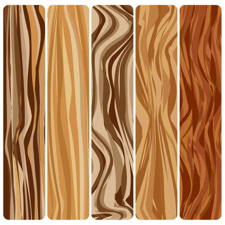 Five wooden boards vector abstract wood texture in a flat design.