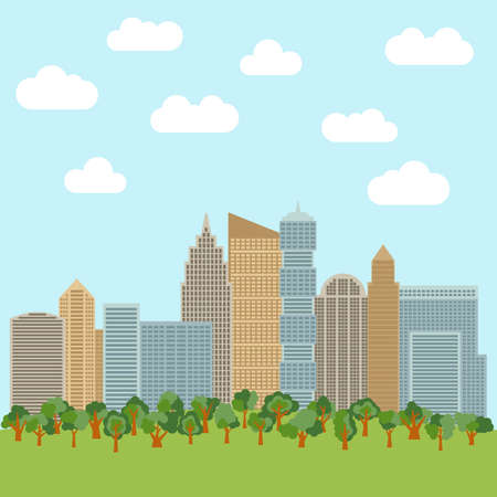 City park in the background of skyscrapers. Vector illustration