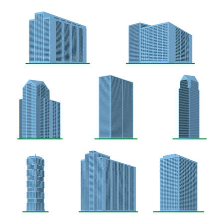 Set of eight modern high-rise building on a white background. View of the building from the bottom. Isometric vector illustration.
