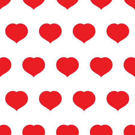 Red hearts seamless pattern. Romantic love symbol of Valentines day vector illustration.