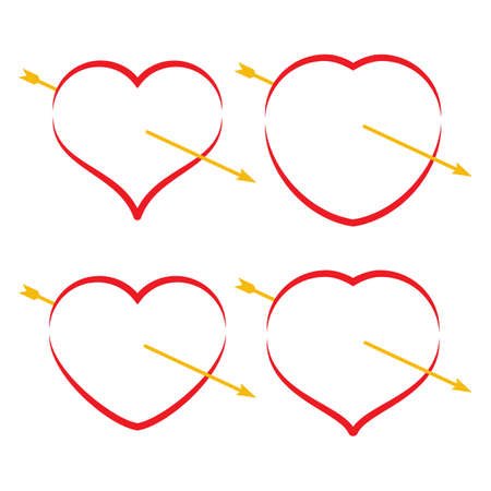 Set of four red hearts with arrow. Romantic love symbol of Valentines day vector illustration.