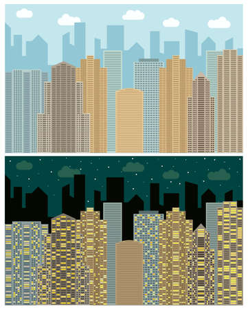 Street view with cityscape, skyscrapers and modern buildings in the day and night. Vector urban landscape illustration.   Illustration