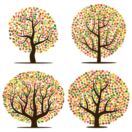 Set of four autumn trees with yellow, orange, brown and green leaves. Vector illustration