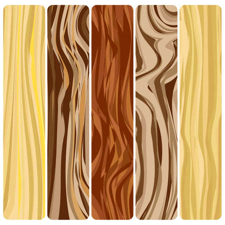 Five wooden boards. Vector abstract wood texture in a flat design.