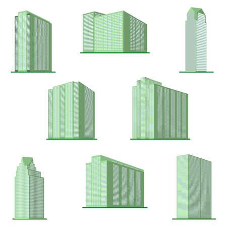 Set of eight modern high-rise building on a white background. View of the building from the bottom.