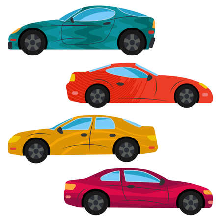 A set of four cars painted in different colors. Vector illustration