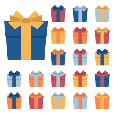 Collection of twenty multi colored gift boxes. Vector illustration Vettoriali