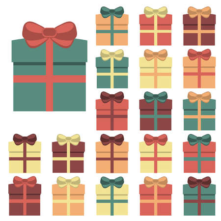 Collection of twenty multi colored gift boxes Vector illustration