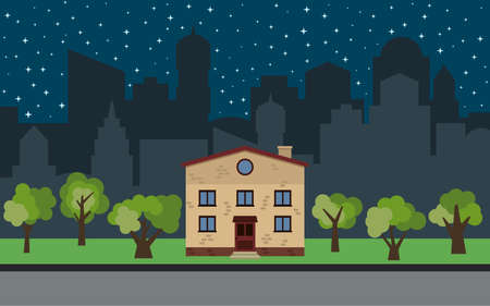 Vector city with two-story cartoon house and green trees at night. Summer urban landscape. Street view with cityscape on a background