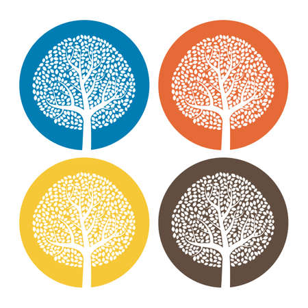 Set of four trees in round colorful background. Vettoriali
