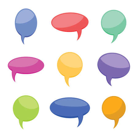 Set of nine colorful cartoon comic balloons speech bubbles without phrases and with shadow. Vector illustration.