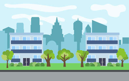 Vector city with two three-story cartoon houses and green trees in the sunny day. Summer urban landscape. Street view with cityscape on a background