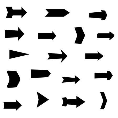 Set of black various arrows. Vector illustration