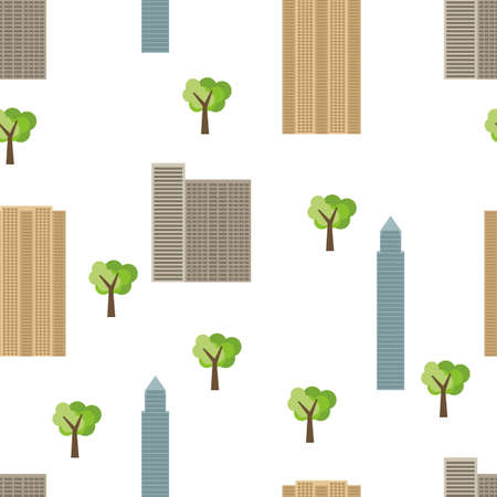 Seamless city background with modern houses and green trees. Vector illustration