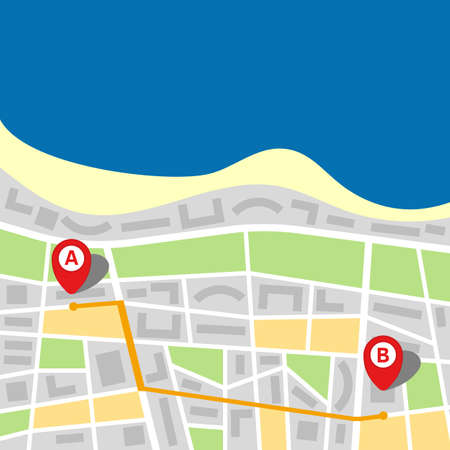 City map of an imaginary city with sea and route from point A to point B. Vector illustration. Stock fotó - 99961864