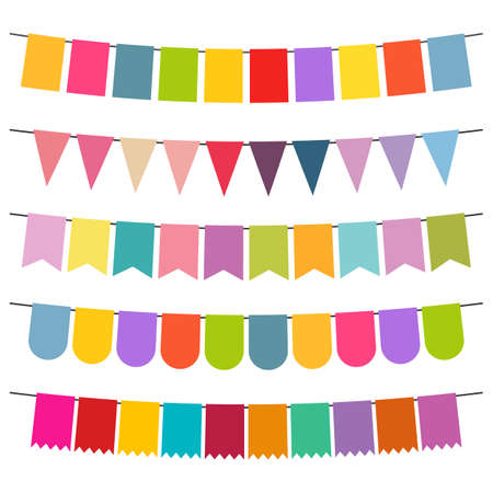 Colorful flags and bunting garlands Illustration