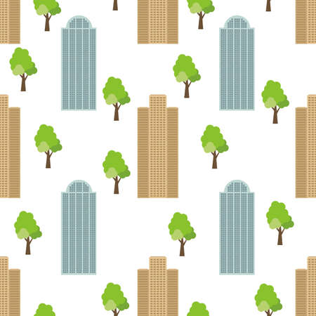 Seamless city background with modern houses and green trees. Vector illustration 일러스트