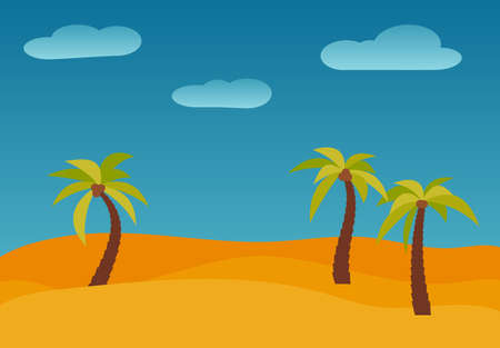 Cartoon nature landscape with three palms in the desert. Vector illustration. Illustration