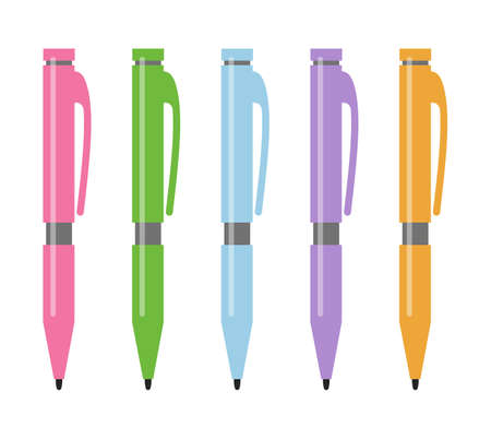 Set of five multi-colored pens. Vector illustration