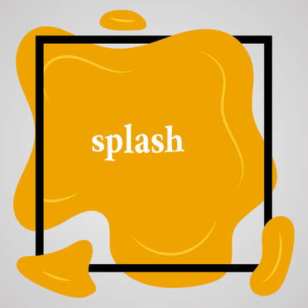 Big yellow splash with lots of small splashes in black frame and inscription splash. Vector illustration