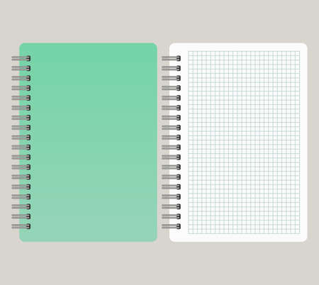 Notepad with a green cover and with a binding from left side. Vector illustration