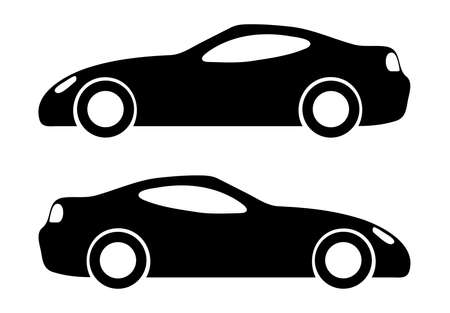 Two black car silhouettes on a white background. Vector illustration Stock Illustratie