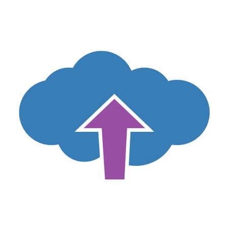 Upload cloud icon. Vector illustration.