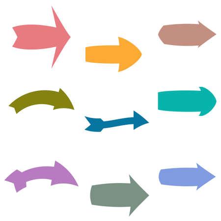 Set of nine multicolored various arrows. Vector illustration
