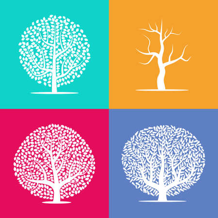 Set of four silhouettes of trees on colorful backgrounds. Vector illustration.