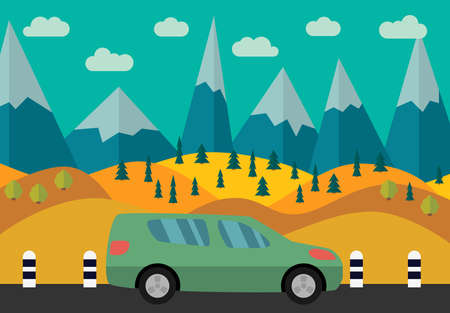 Green car on the road against the backdrop of the forest and mountains. Vector illustration. Illustration