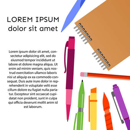 Background with notebook, pens, pencils and place for your text. Vector illustration.