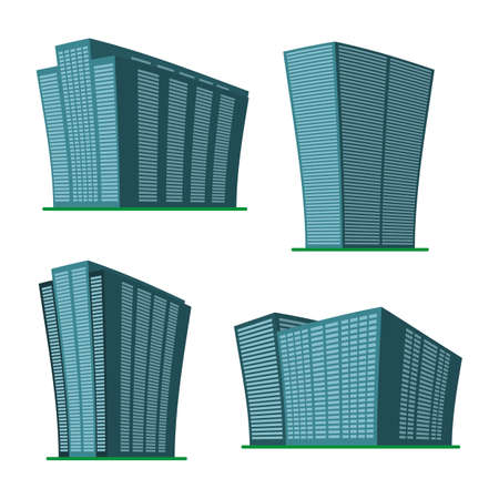 Set of four modern high-rise building on a white background. View of the building from the bottom. Isometric vector illustration.